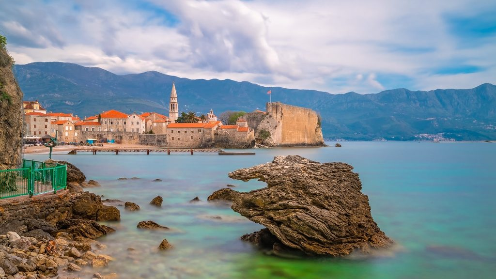 Beautiful Adriatic sea coast around Budva town in Montenegro in summer