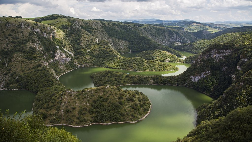 View at meanders of Uvac river in Serbia