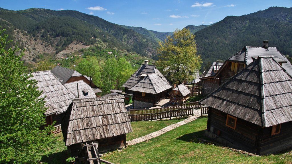Drvengrad is traditional Serbian village in the Balkan mountains